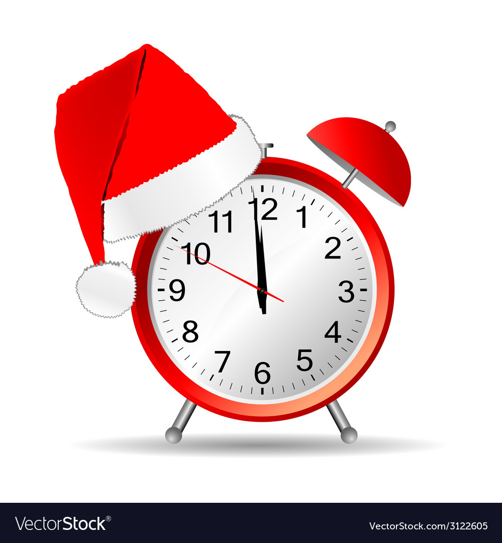 Clock with red christmas hat vector | Price: 1 Credit (USD $1)