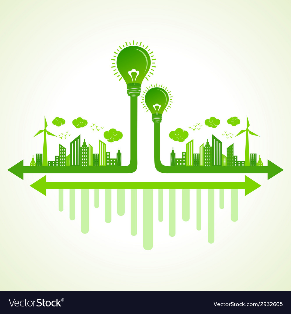Ecology concept with eco bulb vector | Price: 1 Credit (USD $1)