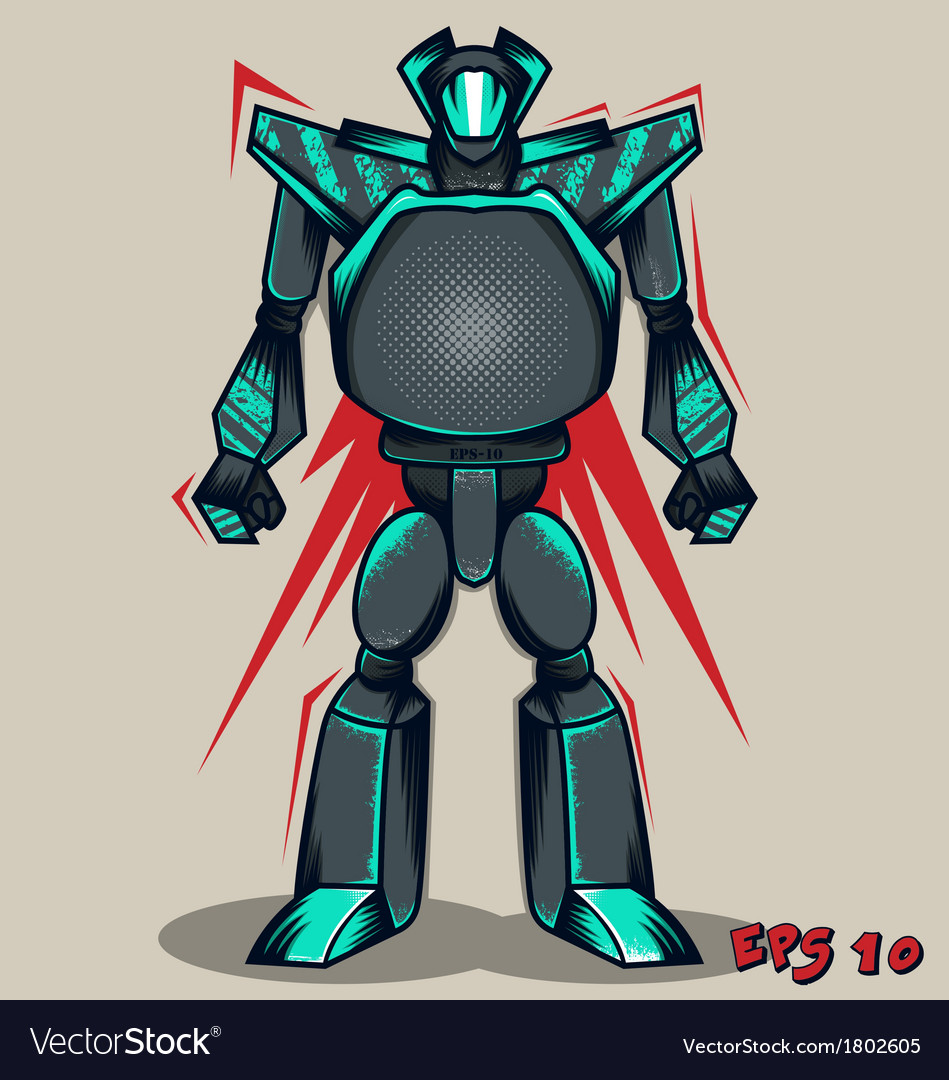 Grey grunge robot vector | Price: 1 Credit (USD $1)