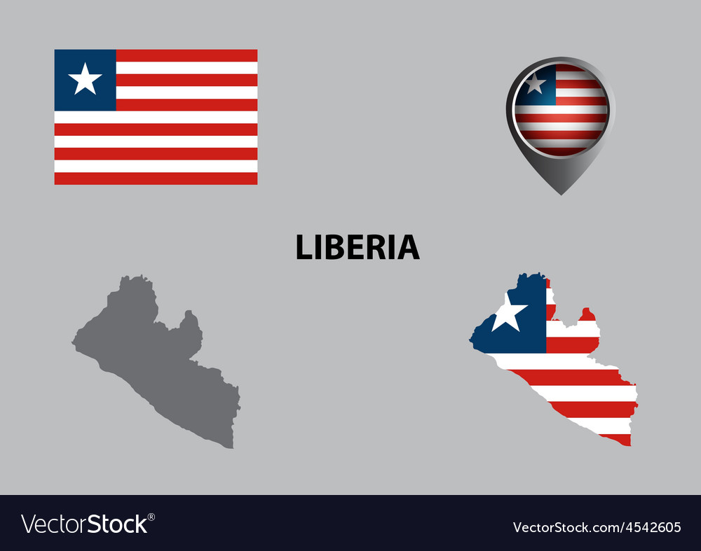 Map of liberia and symbol vector | Price: 1 Credit (USD $1)