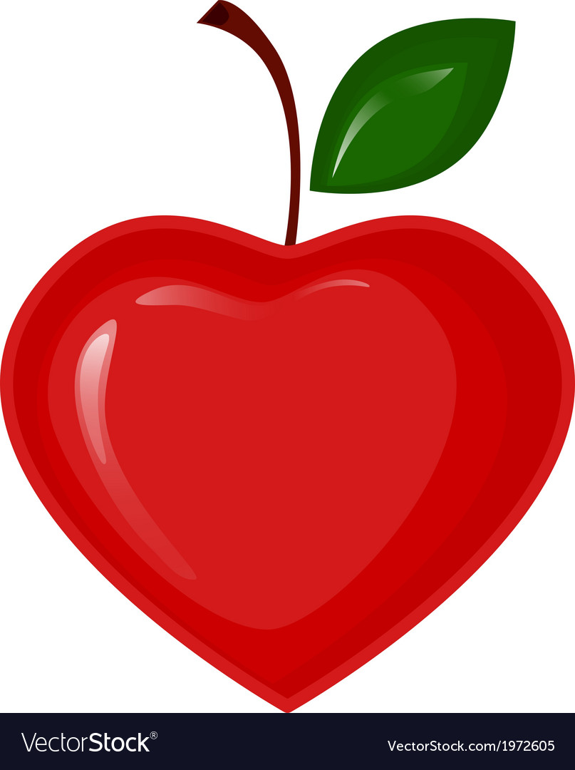 Red apple in the shape of heart vector | Price: 1 Credit (USD $1)