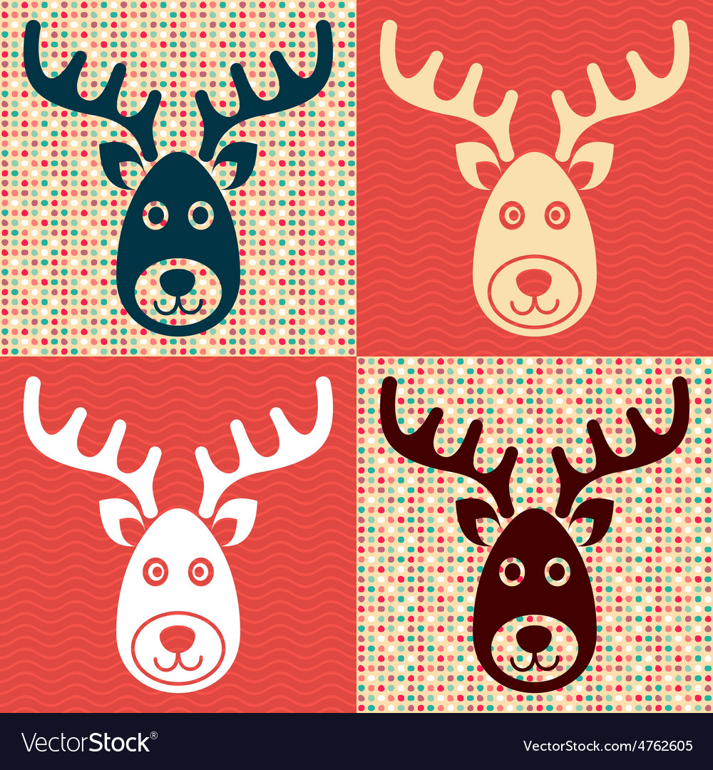Reindeer faces vector | Price: 1 Credit (USD $1)