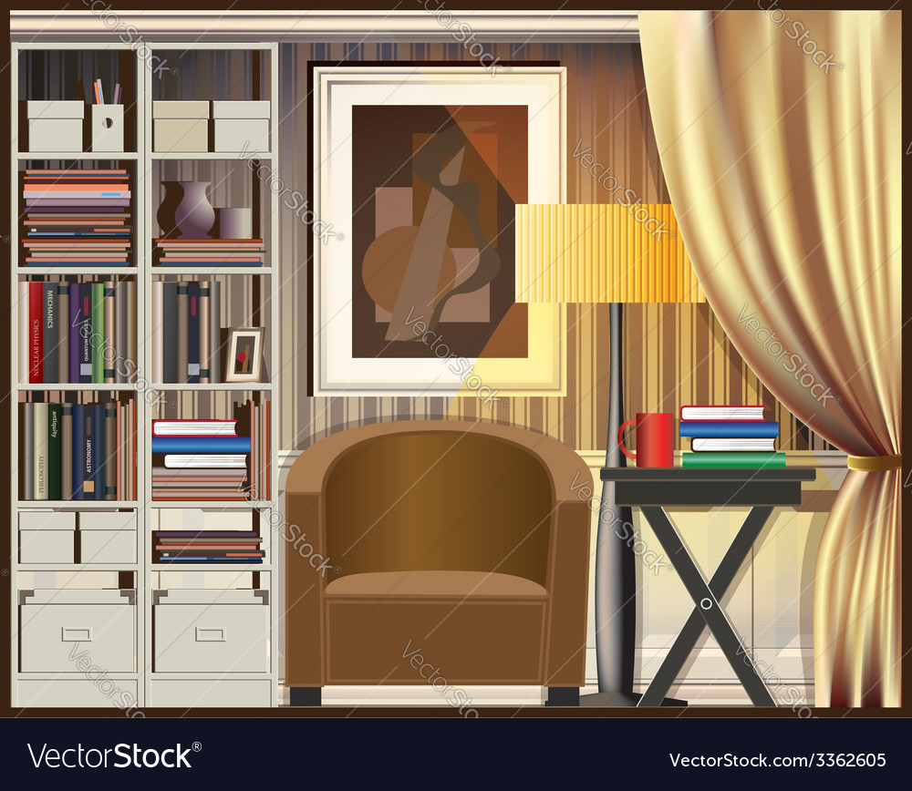 Room with shelves vector | Price: 3 Credit (USD $3)