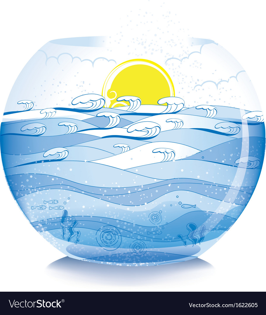 Sea on fish bowl vector | Price: 1 Credit (USD $1)