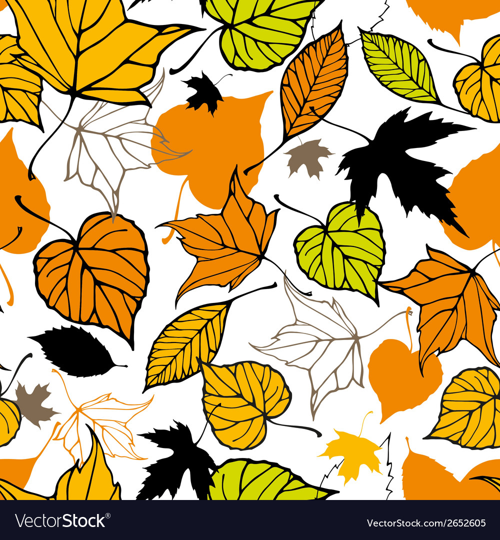 Seamless pattern with decorative autumn leaves vector | Price: 1 Credit (USD $1)