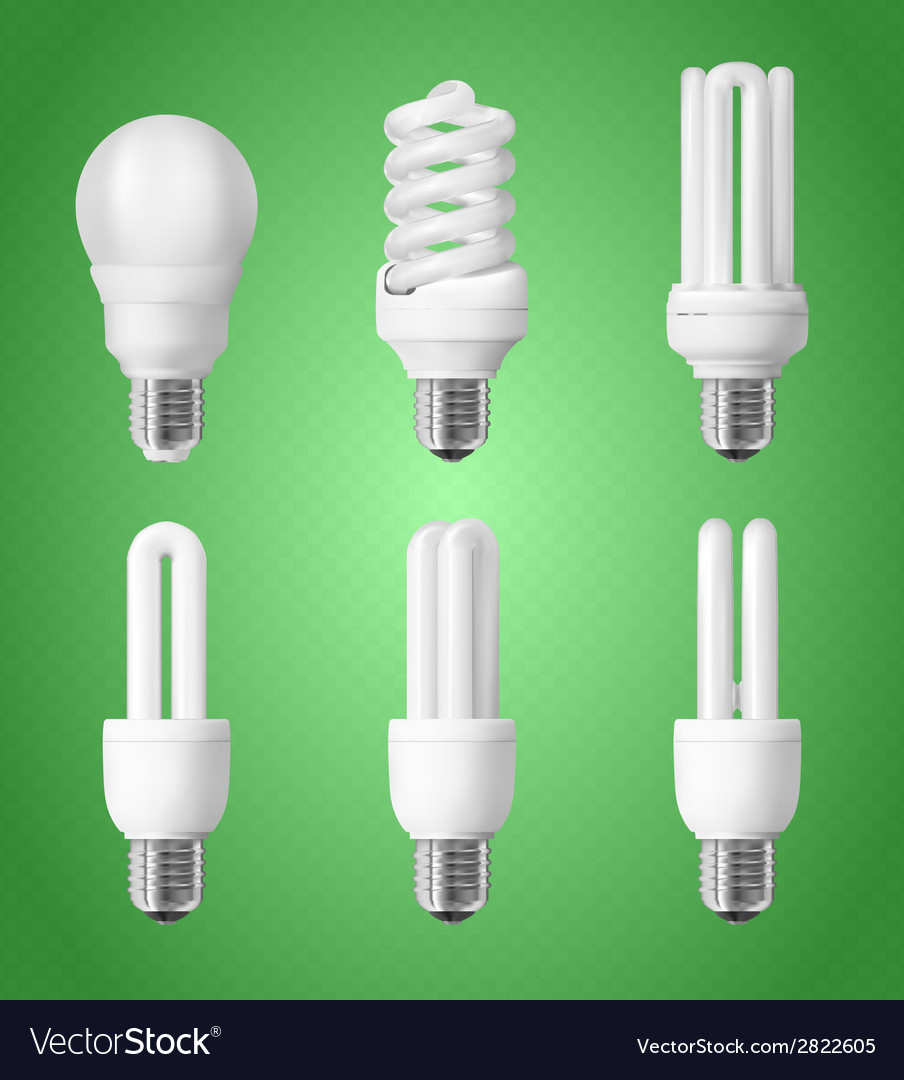 Set of energy saving light bulbs vector | Price: 1 Credit (USD $1)