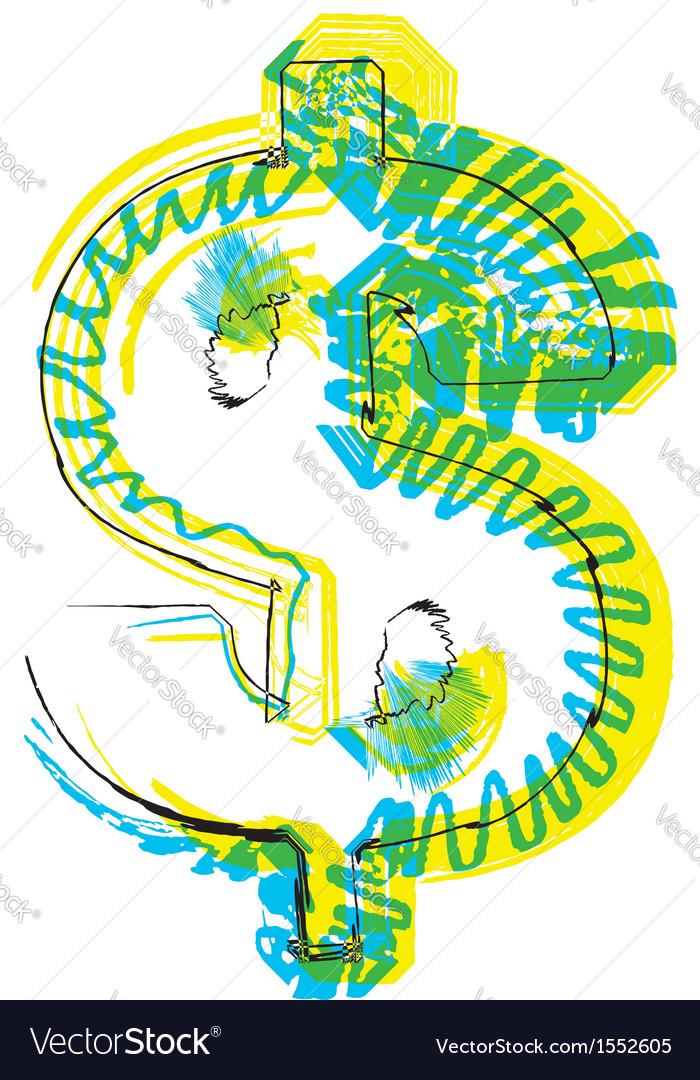 Sketch dollar symbol vector   Price: 1 Credit (USD $1)