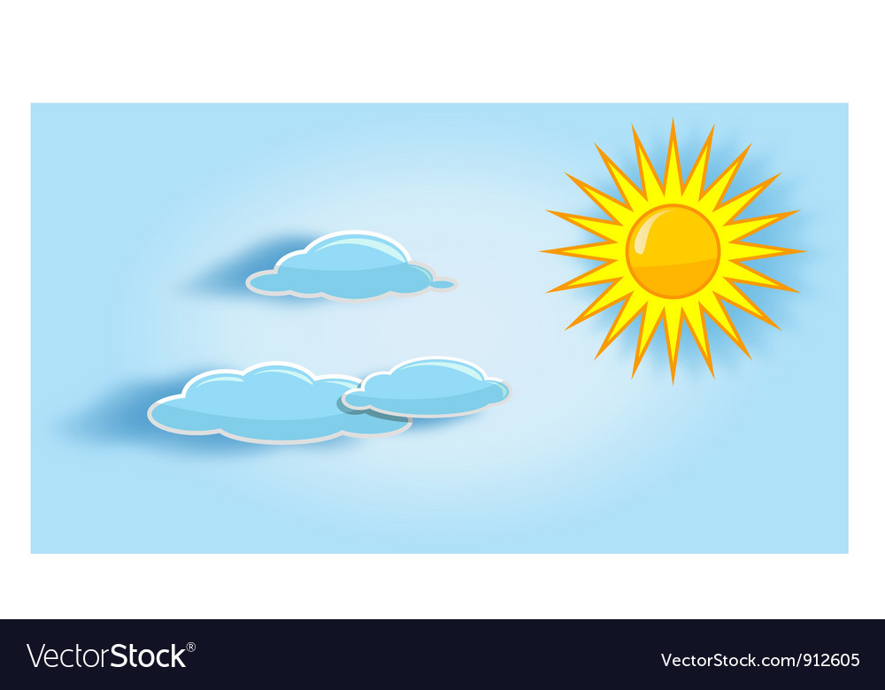 Sun and clouds in the sky vector | Price: 1 Credit (USD $1)