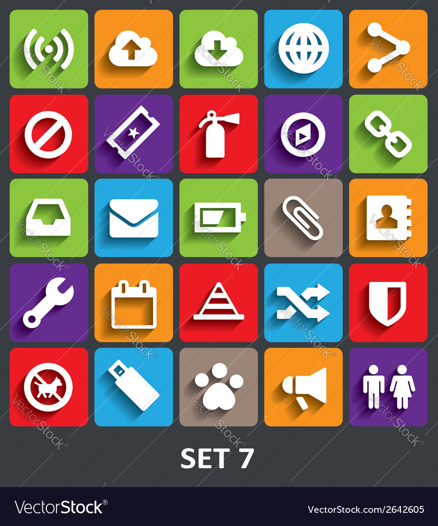 Trendy icons with shadow set 7 vector | Price: 1 Credit (USD $1)