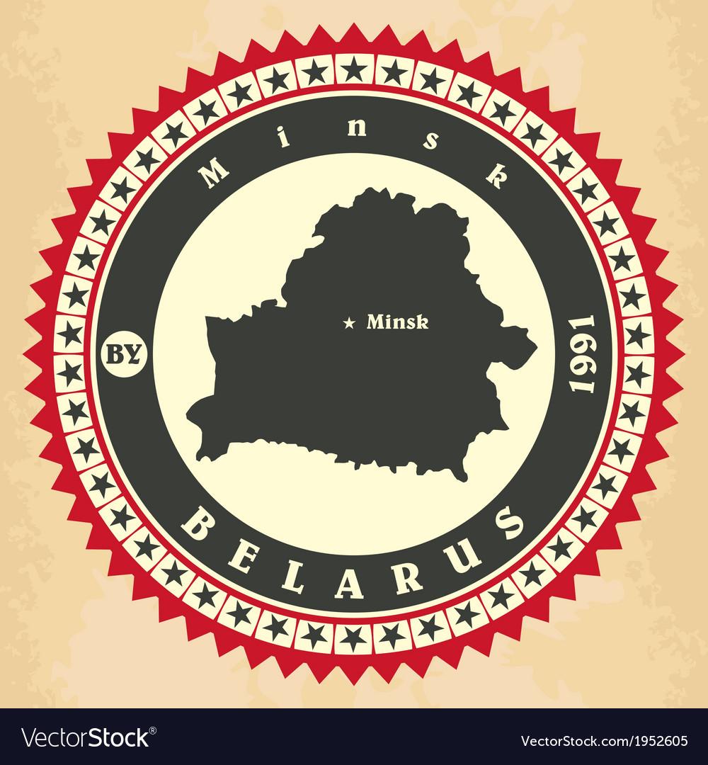 Vintage label-sticker cards of belarus vector | Price: 1 Credit (USD $1)
