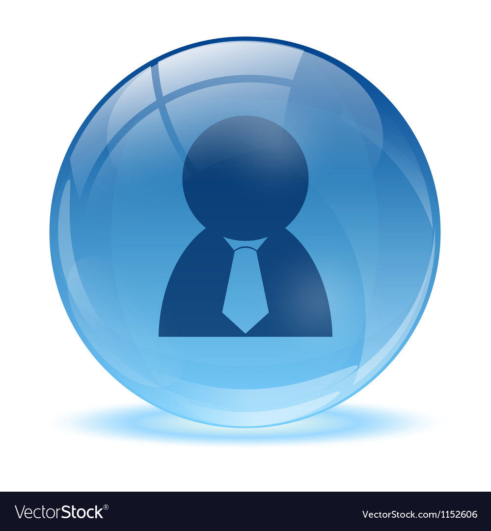 3d glass sphere and business man icon vector | Price: 1 Credit (USD $1)