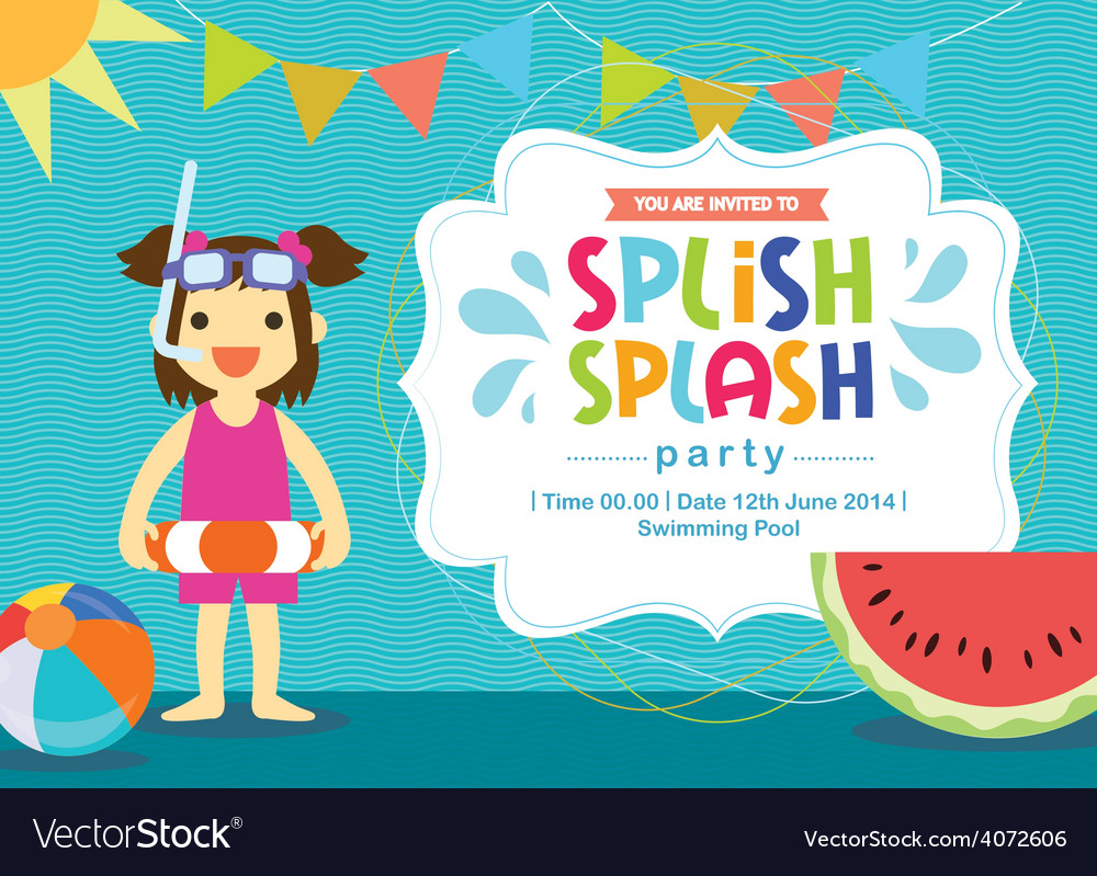 Birthday card invitation summer fun splash vector | Price: 1 Credit (USD $1)