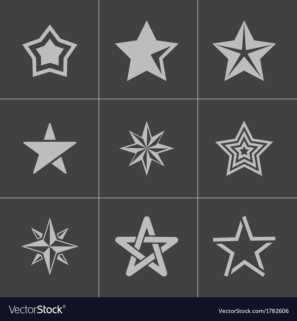 Black stars icons set vector | Price: 1 Credit (USD $1)