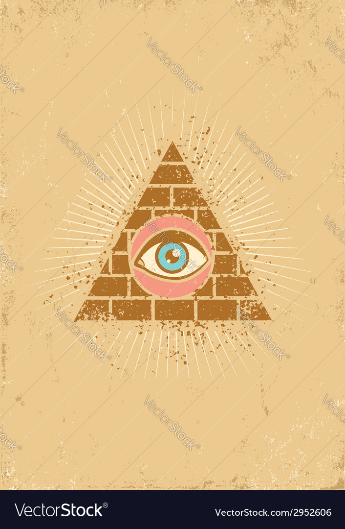 Eye pyramid grunge vector | Price: 1 Credit (USD $1)