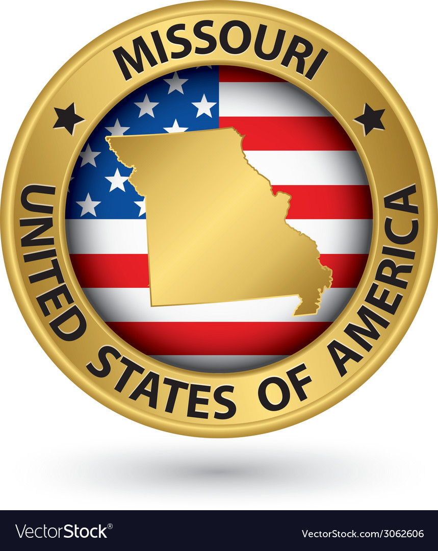 Missouri state gold label with state map vector | Price: 1 Credit (USD $1)