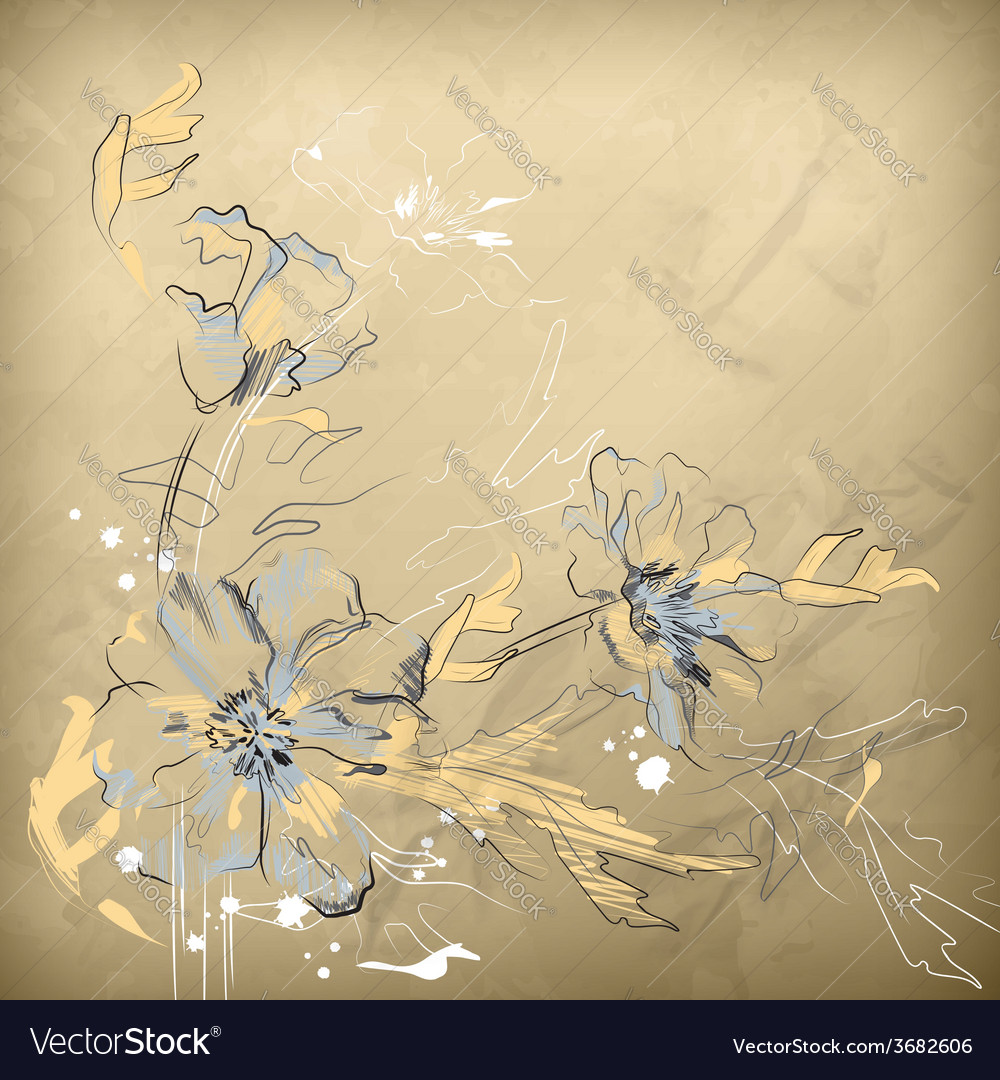 Pencil hand drawing flowers vector | Price: 1 Credit (USD $1)