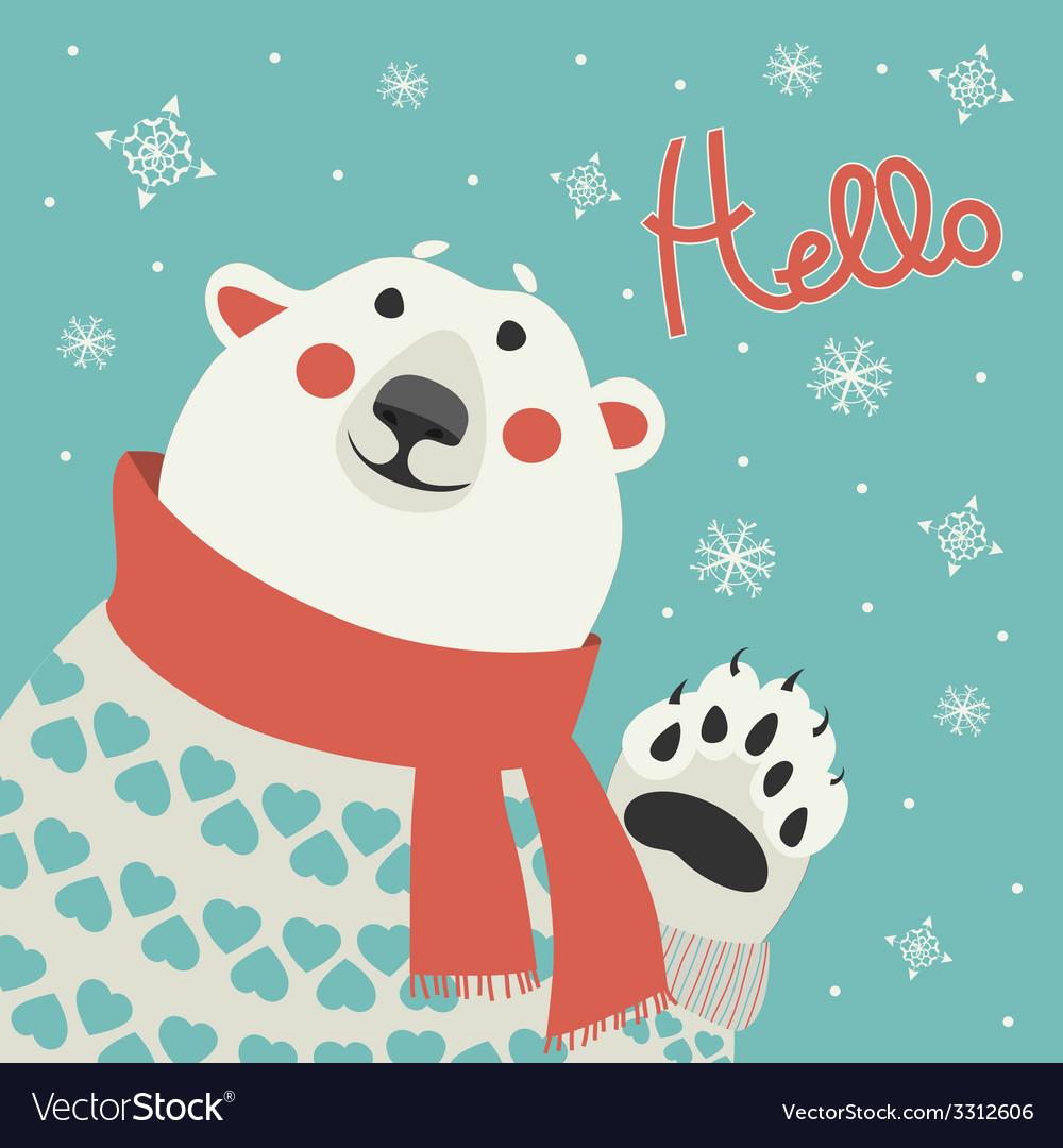 Polar bear says hello vector   Price: 1 Credit (USD $1)