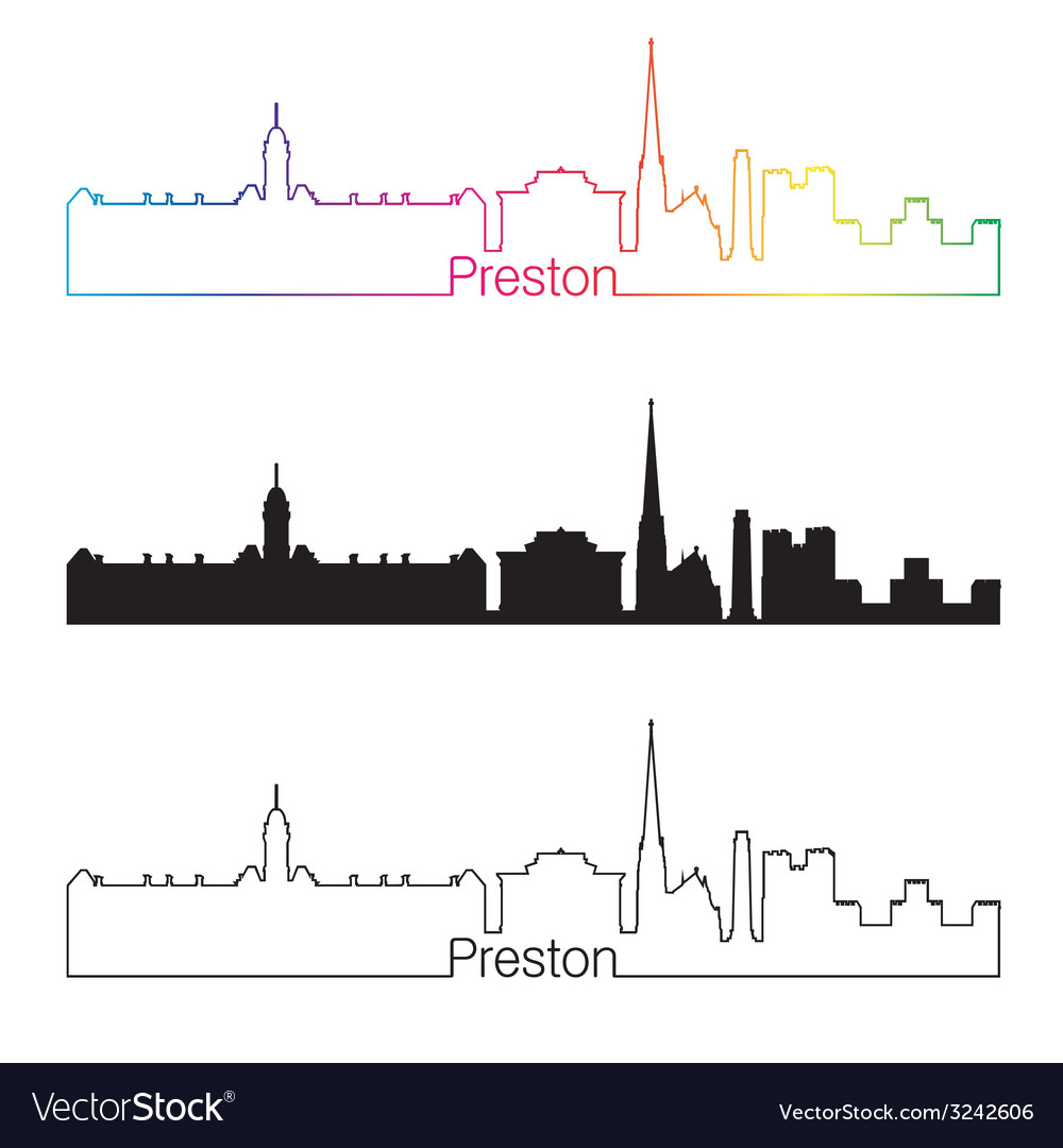 Preston skyline linear style with rainbow vector | Price: 1 Credit (USD $1)
