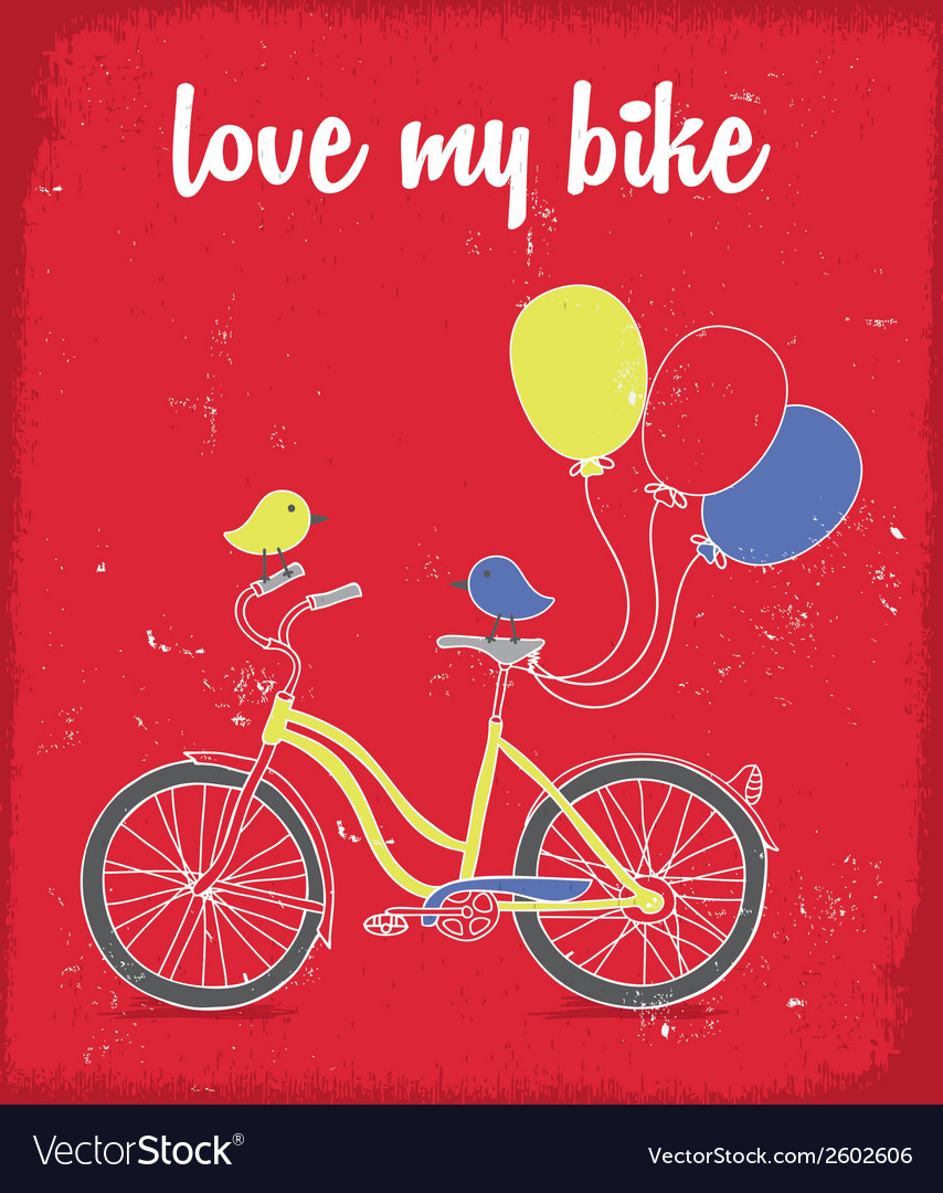 Retro poster with bicycle birds and balloons vector | Price: 1 Credit (USD $1)