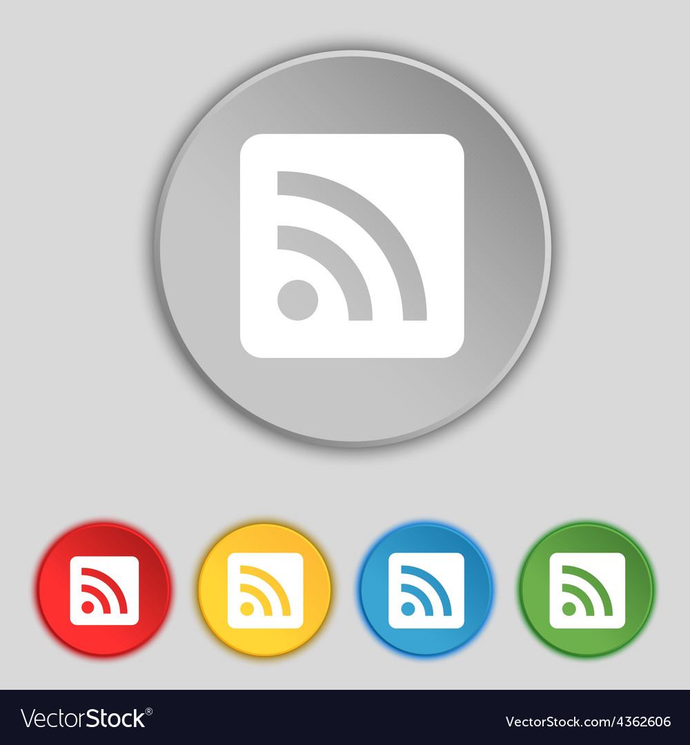 Rss feed icon sign symbol on five flat buttons vector | Price: 1 Credit (USD $1)