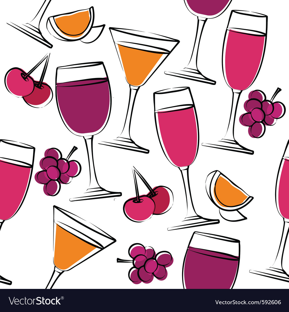 Seamless pattern with wine vector | Price: 1 Credit (USD $1)