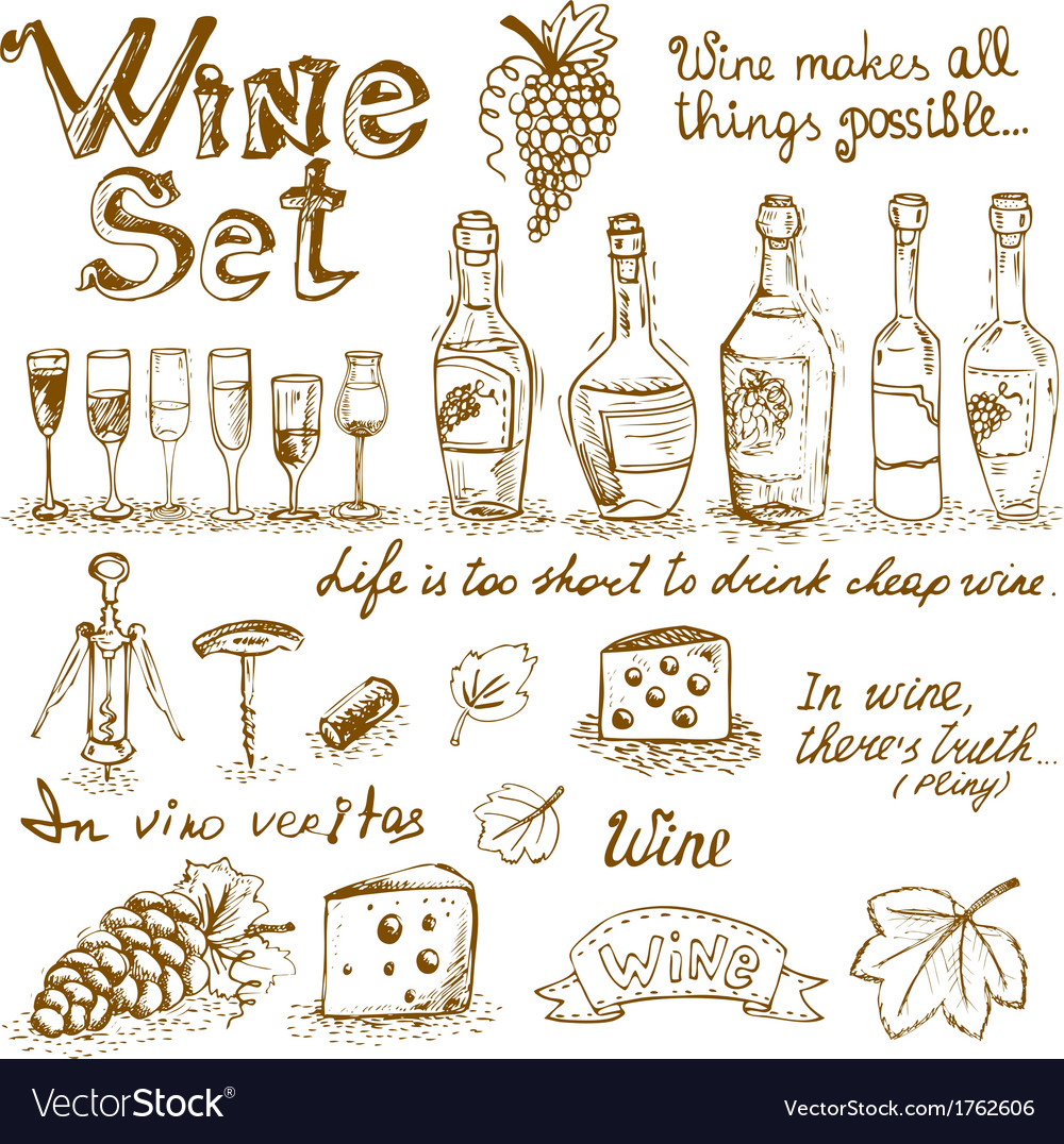 Set of wine elements vector | Price: 1 Credit (USD $1)
