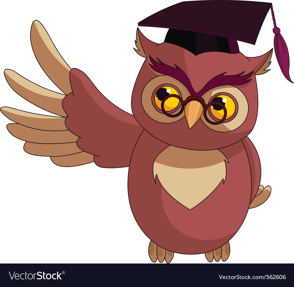 Wise owl with graduation cap vector | Price: 1 Credit (USD $1)