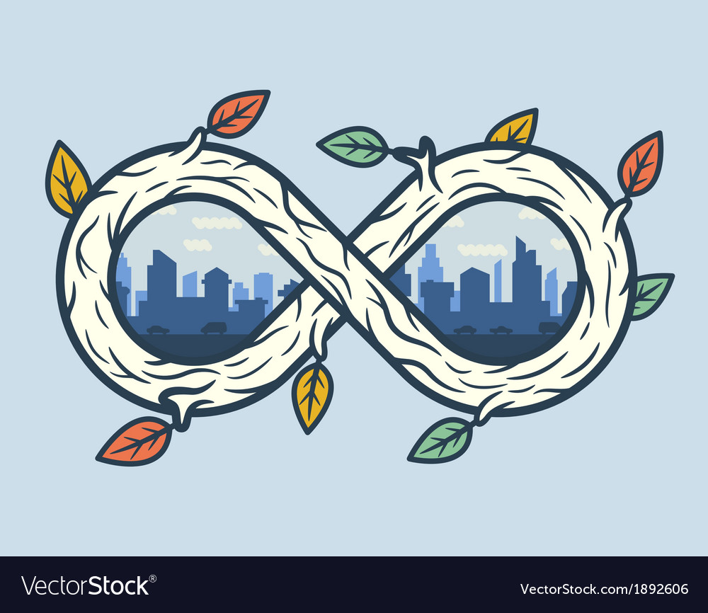 Wooden infinity shape with city vector | Price: 1 Credit (USD $1)