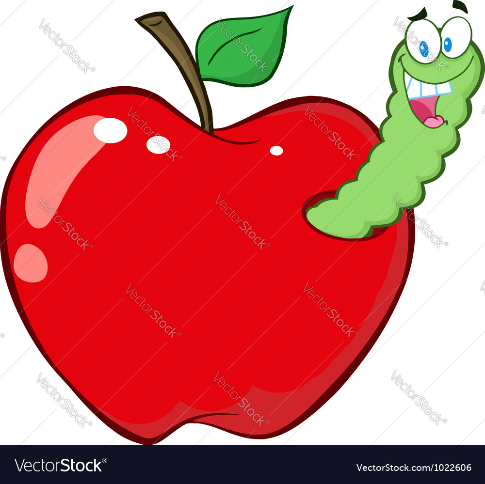 Worm in red apple vector | Price: 1 Credit (USD $1)