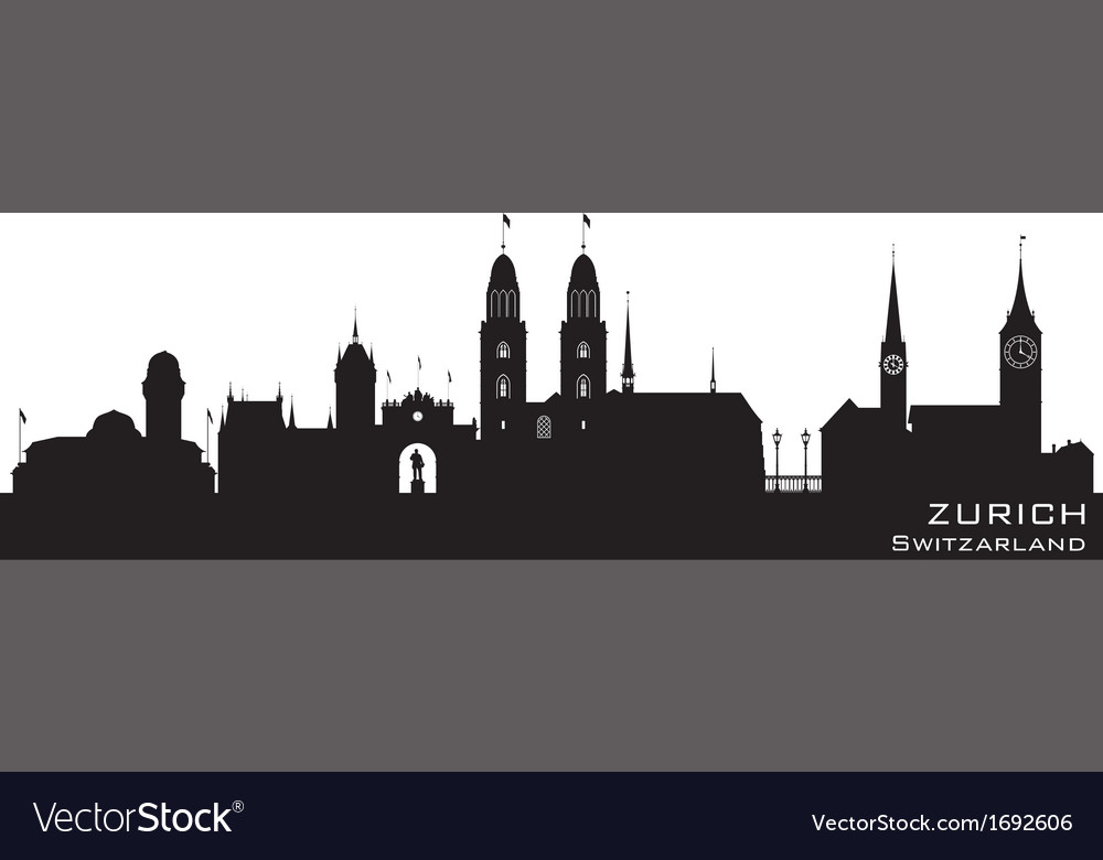 Zurich switzerland skyline detailed silhouette vector | Price: 1 Credit (USD $1)