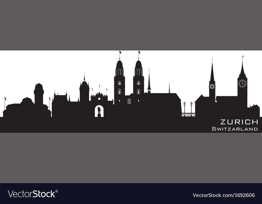 Zurich switzerland skyline detailed silhouette vector | Price: 1 Credit (USD $1)