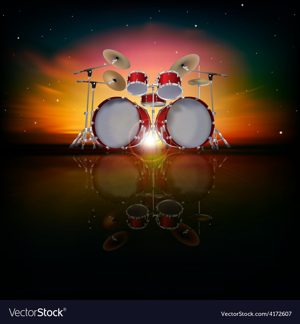 Abstract music background with drum kit and red vector | Price: 3 Credit (USD $3)