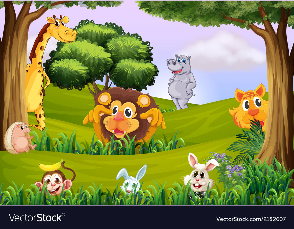 Animals at the forest vector