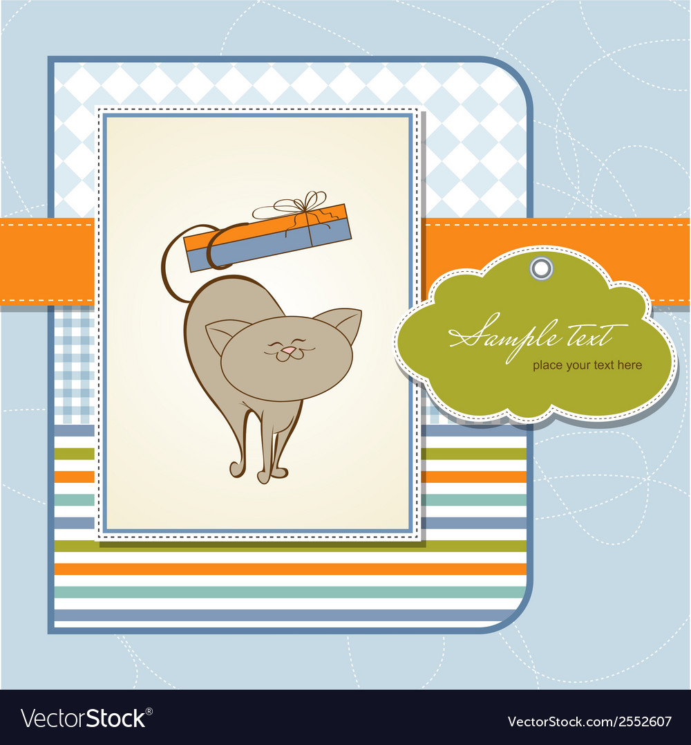 Birthday card with cute cat vector | Price: 1 Credit (USD $1)
