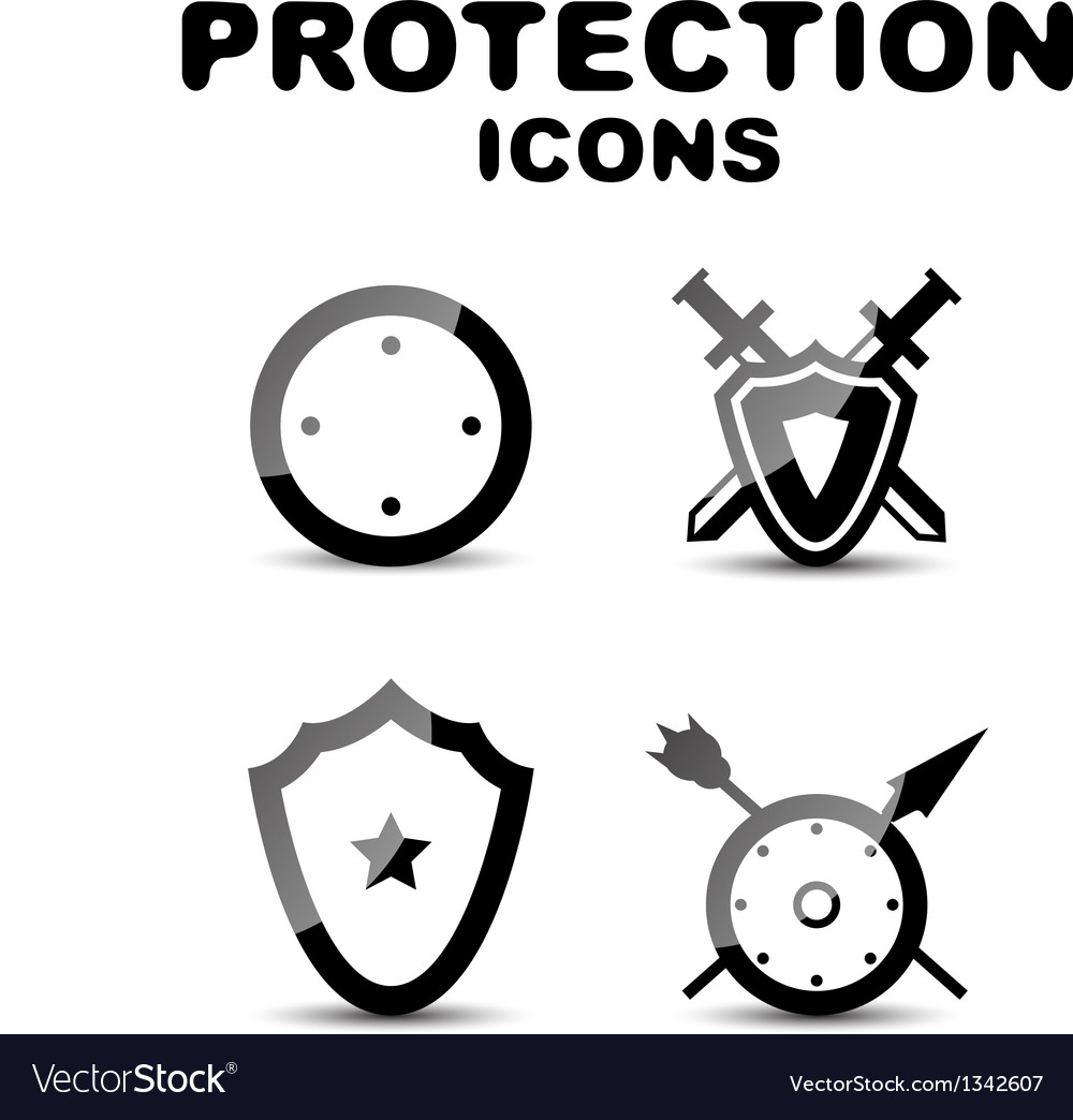 Black glossy protection icon set vector | Price: 1 Credit (USD $1)