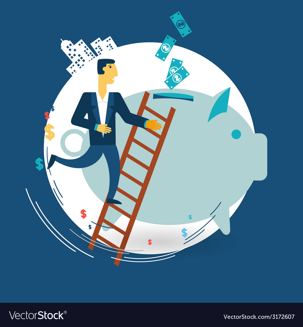 Businessman throwing money in the pig piggy bank vector | Price: 1 Credit (USD $1)