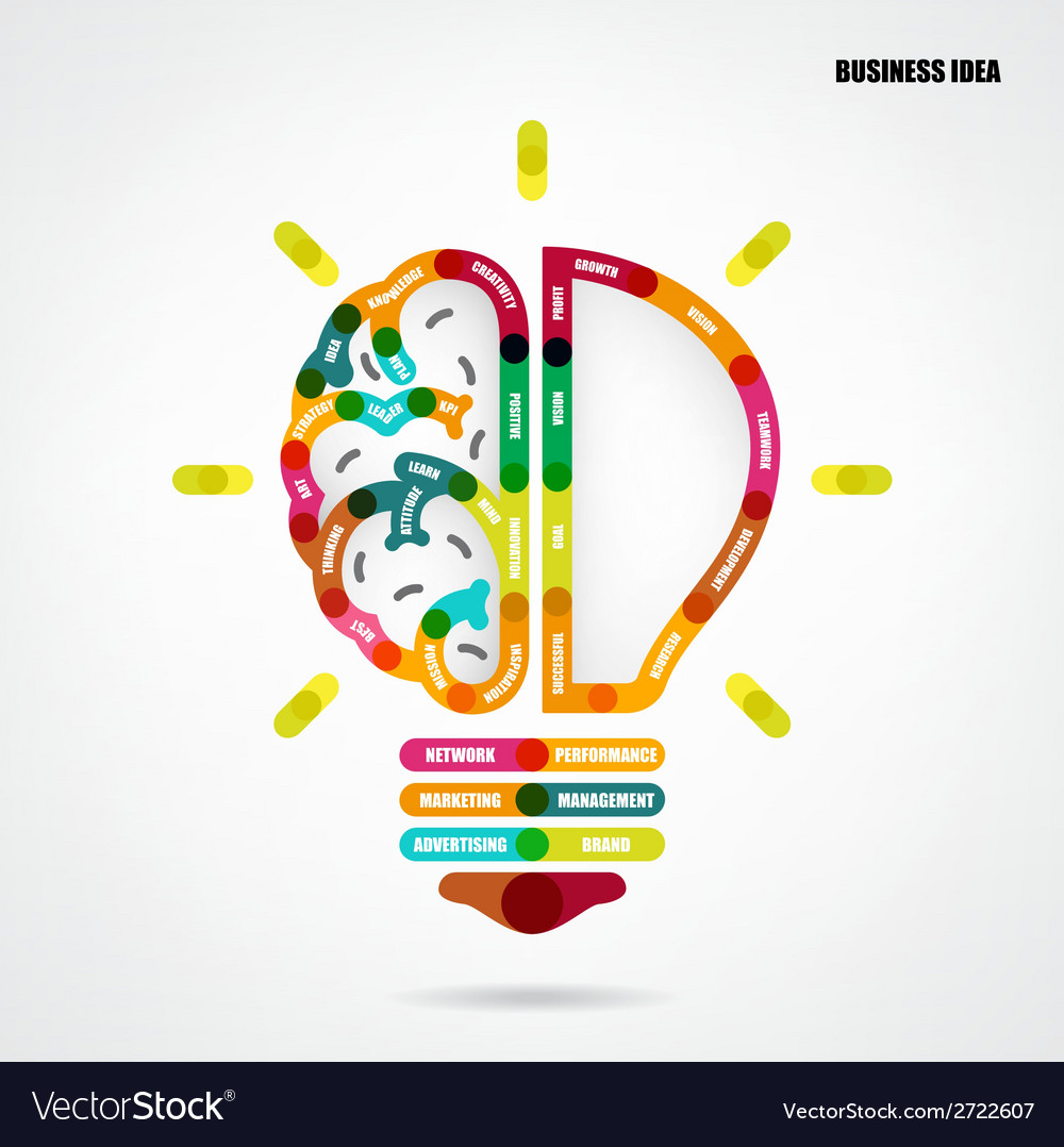 Creative light bulb concept with business idea vector | Price: 1 Credit (USD $1)