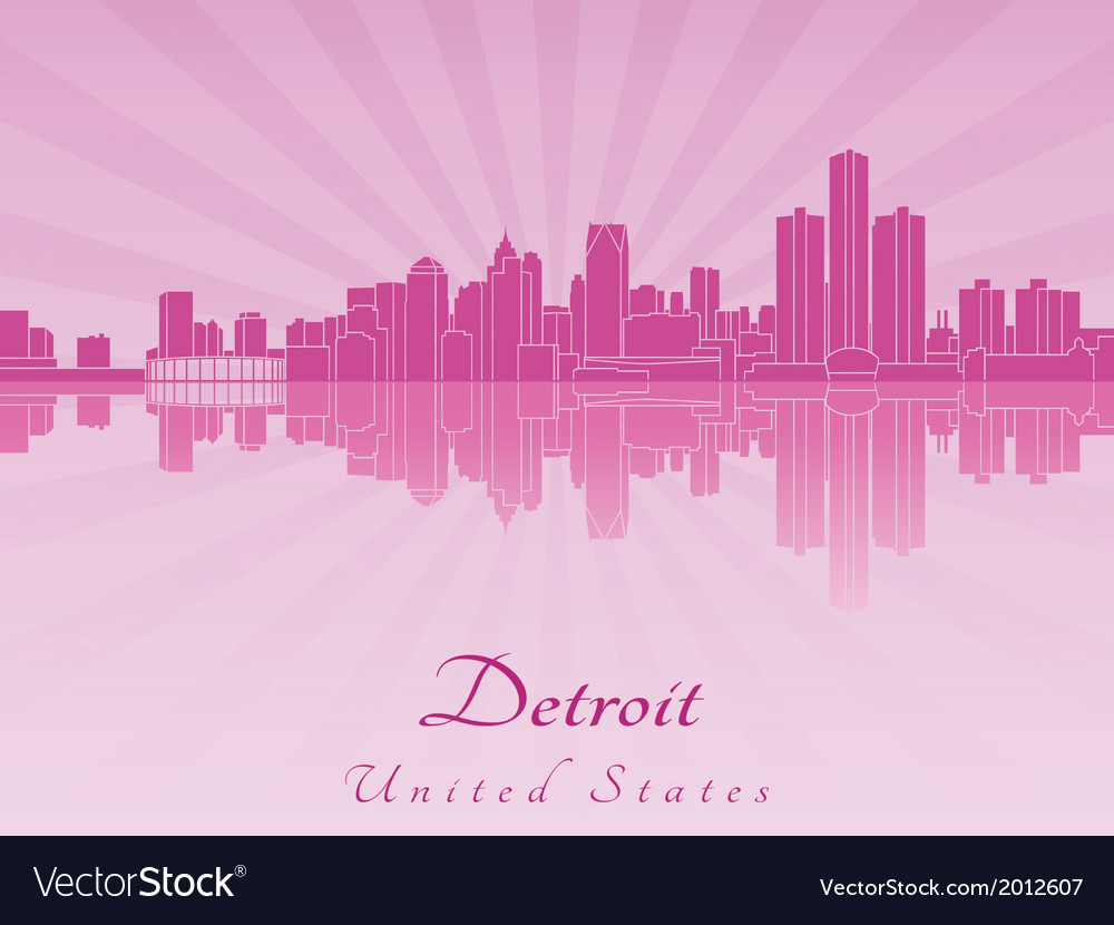 Detroit skyline in purple radiant orchid vector | Price: 1 Credit (USD $1)