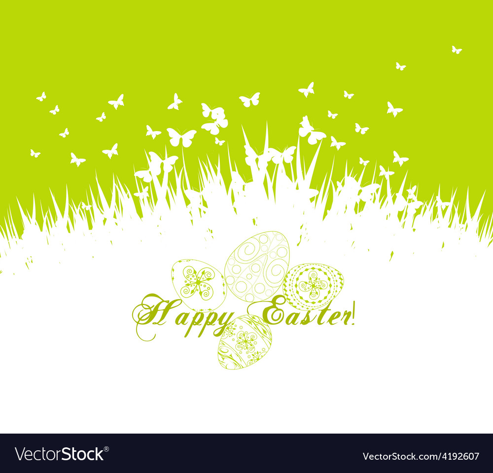Green easter eggs with grass vector | Price: 1 Credit (USD $1)