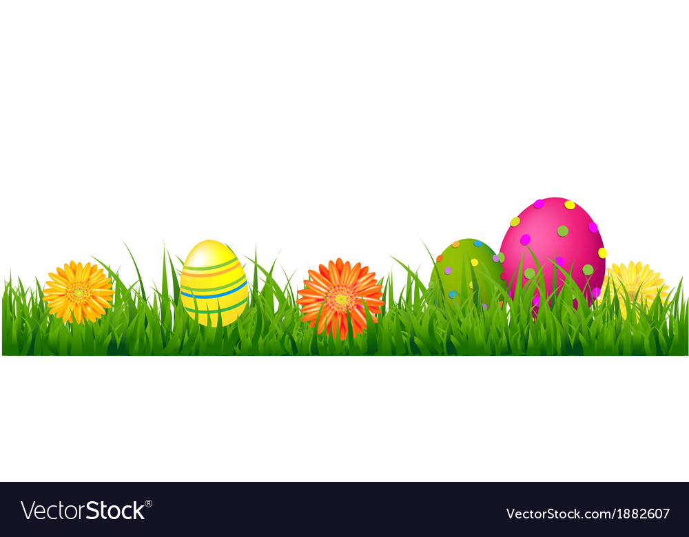 Happy easter border with grass and eggs vector | Price: 1 Credit (USD $1)