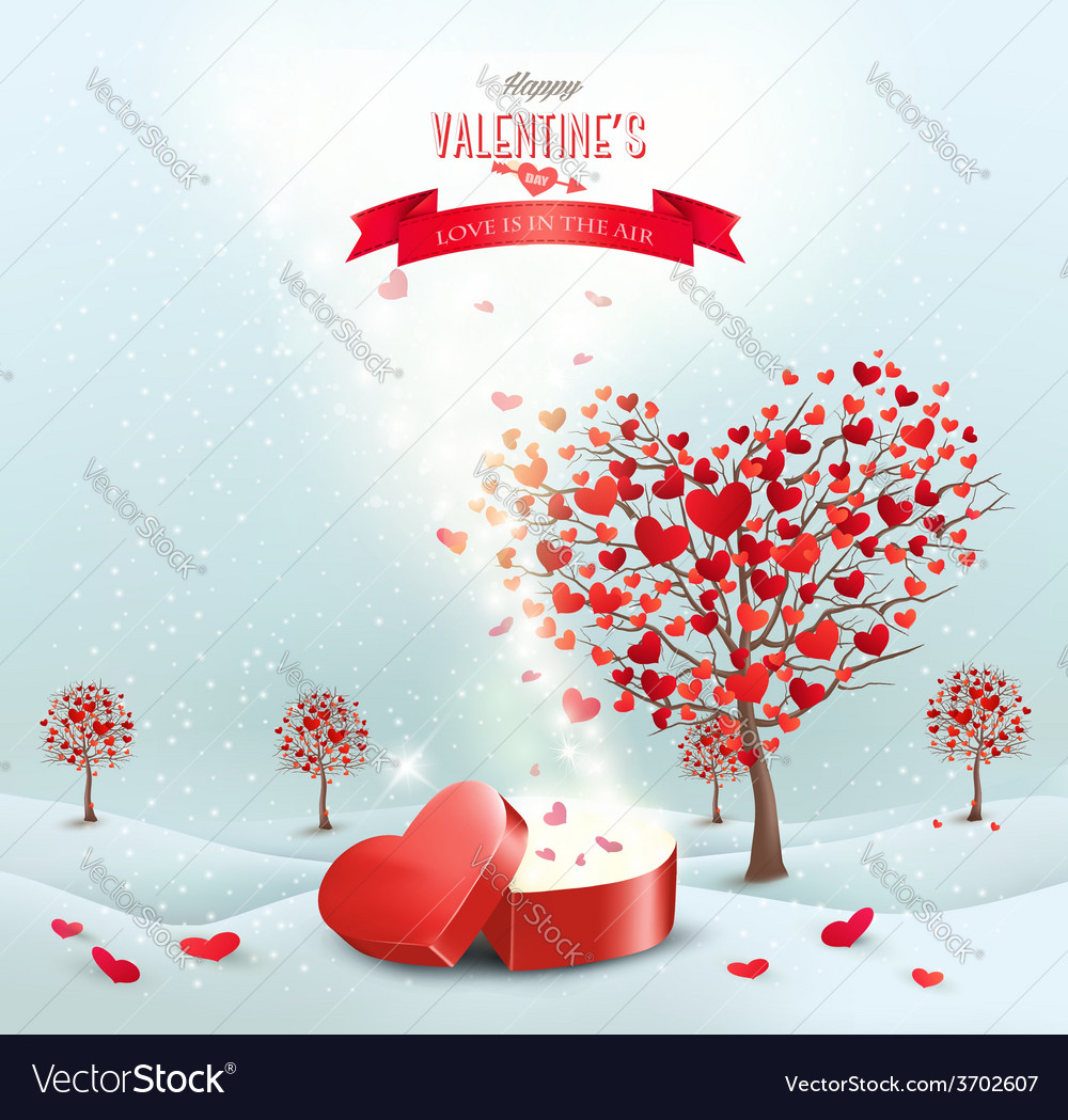 Valentines day landscape with heart shaped trees vector | Price: 3 Credit (USD $3)