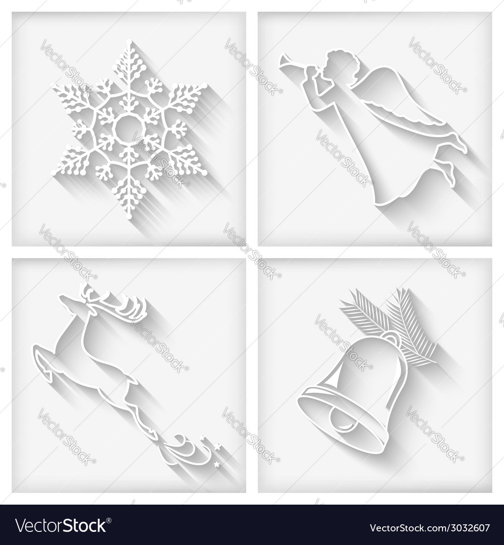 White long shadows christmas icons vector | Price: 1 Credit (USD $1)