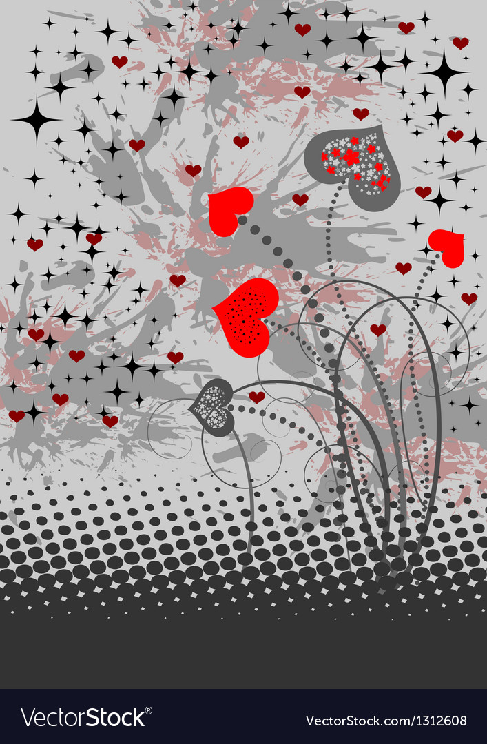 Abstract background with red hearts vector | Price: 1 Credit (USD $1)
