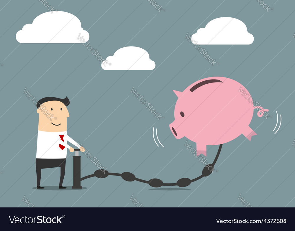 Businessman putting money to a piggy bank vector | Price: 1 Credit (USD $1)