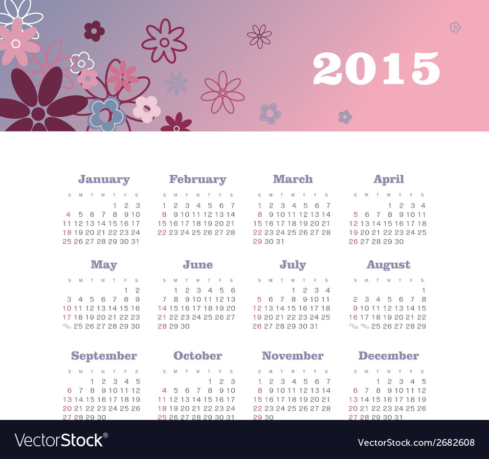 Calendar 2015 year with flowers vector | Price: 1 Credit (USD $1)