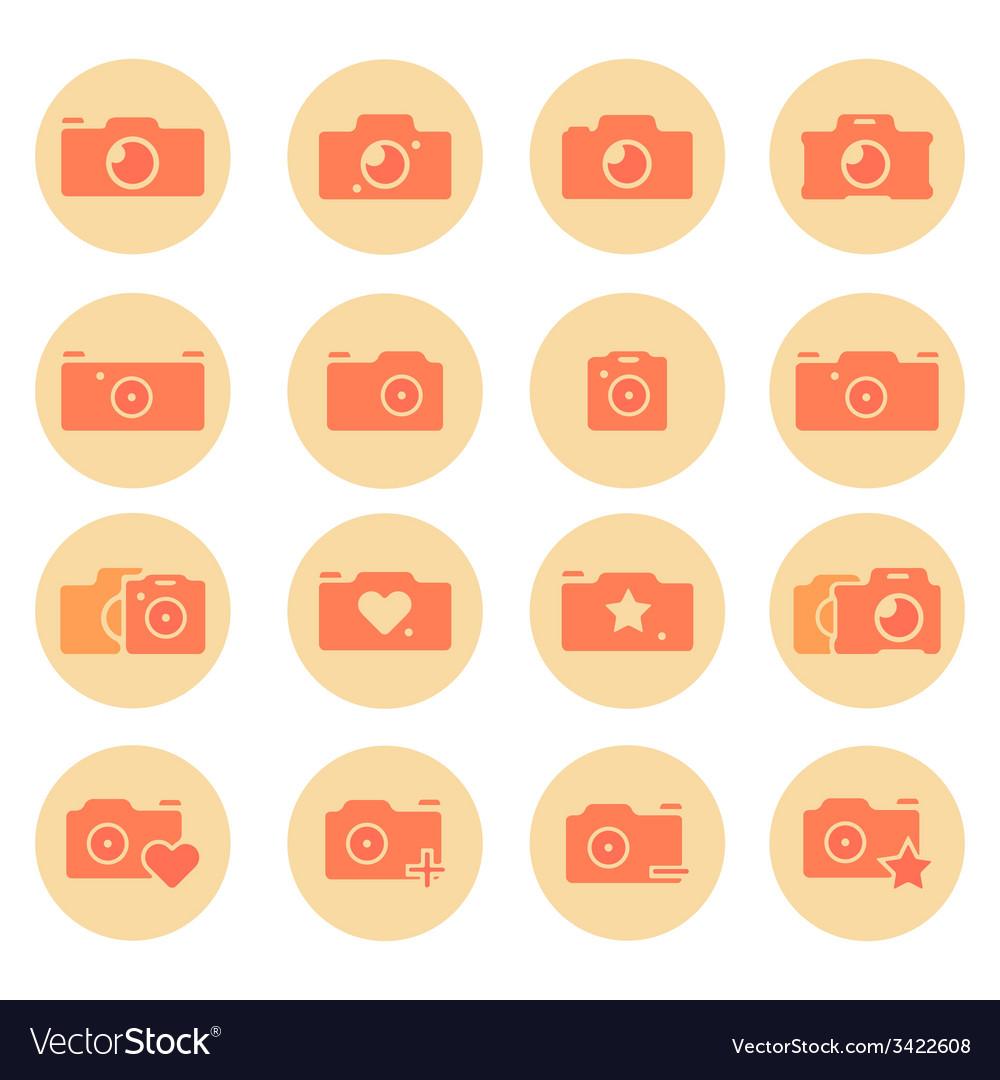Camera flat icons set vector | Price: 1 Credit (USD $1)