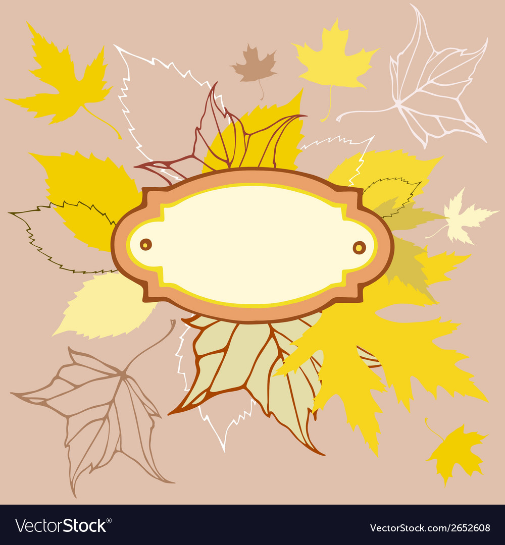 Colored leaves background with frame for text vector | Price: 1 Credit (USD $1)