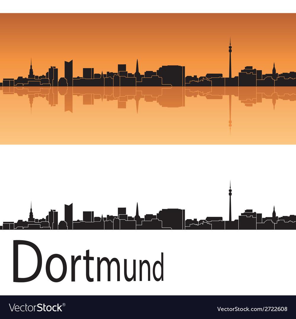 Dortmund skyline in orange background vector | Price: 1 Credit (USD $1)