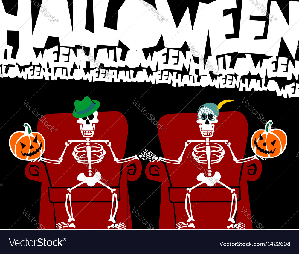 Halloween skeleton greeting card vector | Price: 1 Credit (USD $1)
