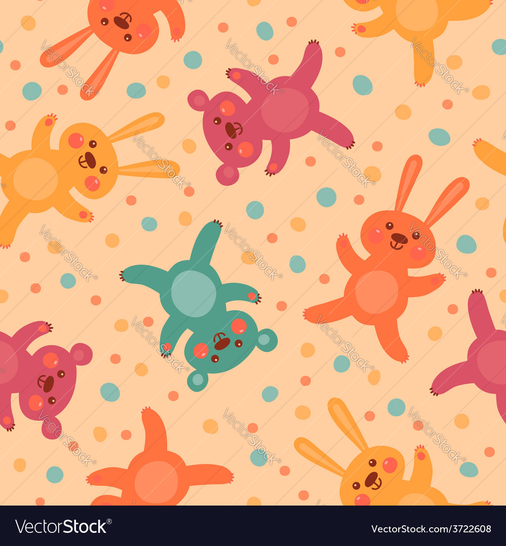 Kids seamless pattern with cute bears and hares vector | Price: 1 Credit (USD $1)
